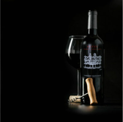 Bottle of Meyer Family Cellars Fulffy Billows Cabernet Sauvignon Oakville with glass of wine and corkscrew available at wine spectrum
