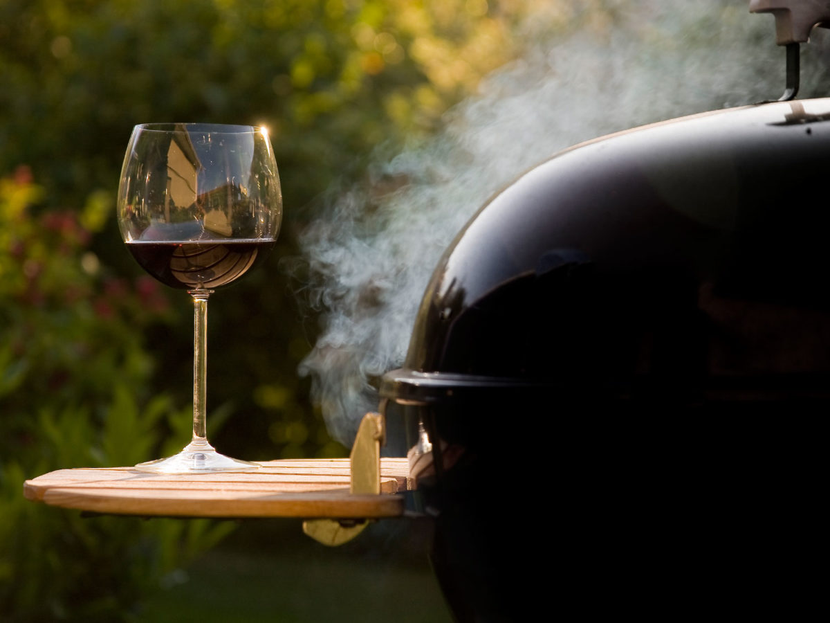 wine glass and barbecue