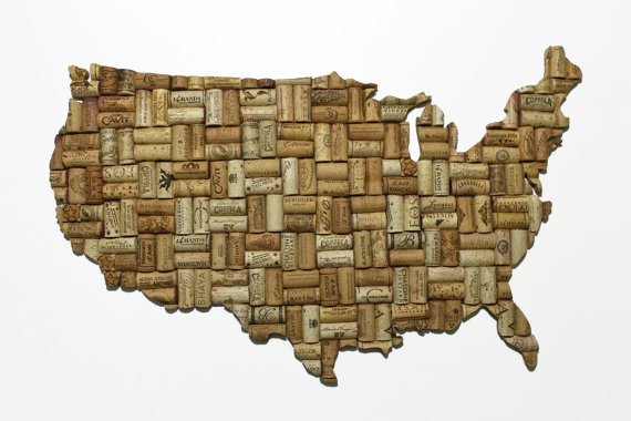 outline of the united states in corks