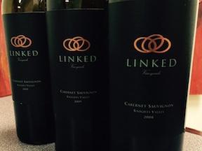 2008 Linked Vineyards Cabernet Sauvignon, Knights Valley wine bottles