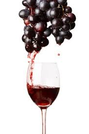wine grapes dripping juice into a glass