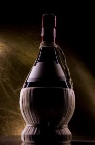 wine bottle in wicker carrier
